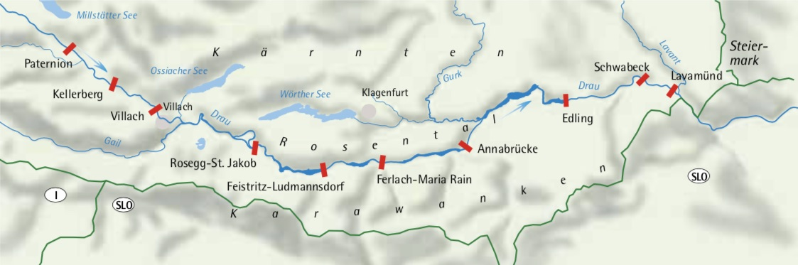 Wasserkraftwerke an der Drau in Kärnten