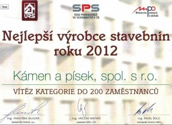 Kámen a písek awarded as Best Manufacturer of Construction Material